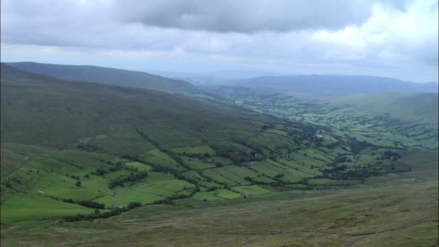 Aerial over limestone escarpment and valley beyond, Yorkshire Dales, UK