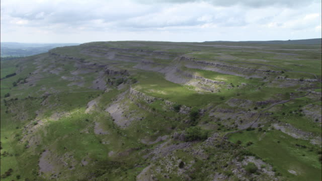 Aerial over limestone features, Yorkshire Dales, UK