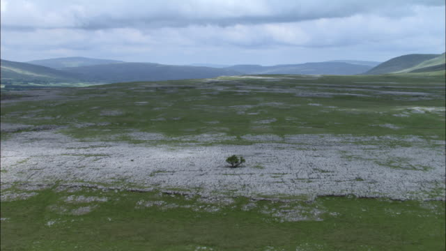 Aerial over limestone pavement, Yorkshire Dales, UK