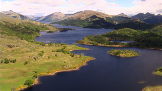 aerial over loch shiel, scotland, uk - scottish highlands stock videos & royalty-free footage