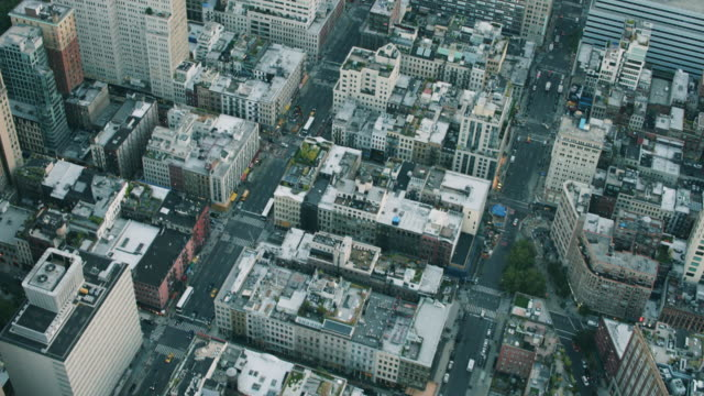 aerial over lower manhattan in tribeca, residential and commercial - tribeca stock videos & royalty-free footage