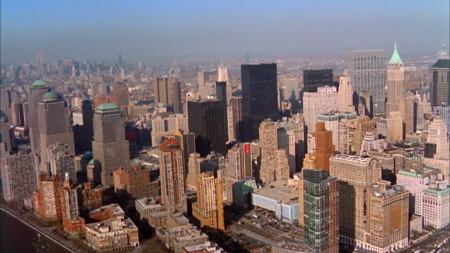 Aerial over lower Manhattan near Ground Zero