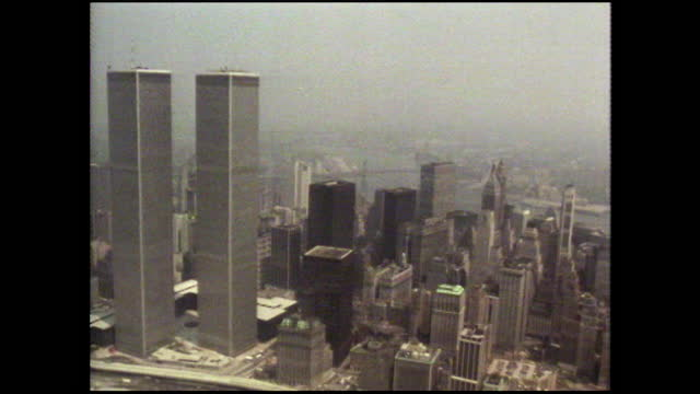 aerial over manhattan away from world trade centre towers; 1980 - 1980 stock videos & royalty-free footage