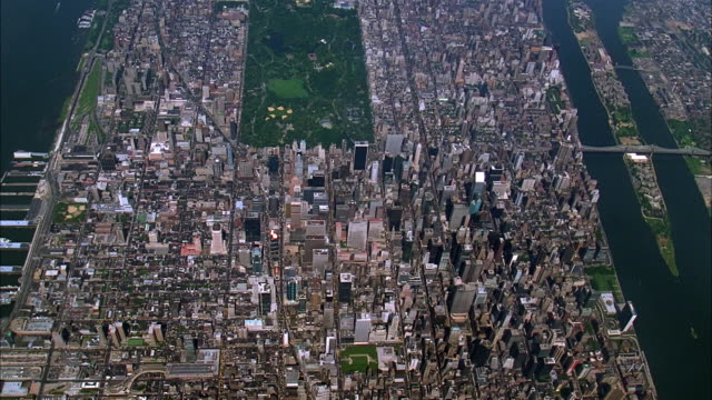 aerial over manhattan near central park / new york city - 1993 stock videos & royalty-free footage