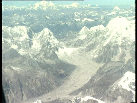 Aerial over Mount Everest the Himalayas and the Kathmandu Valley