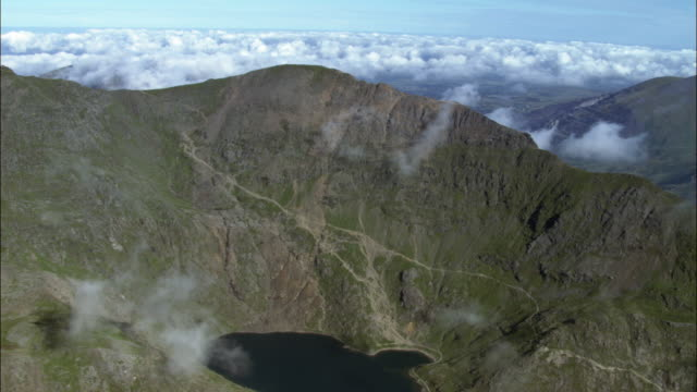Aerial over Mount Snowdon, Wales, UK