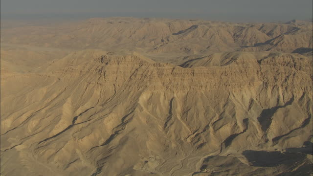 Aerial over mountain desert landscape in Egypt