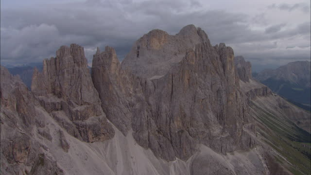 Aerial over Mountains, Dolomites, Italy