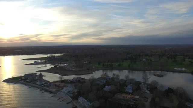 aerial over ocean, 4k - コネチカット州点の映像素材/bロール