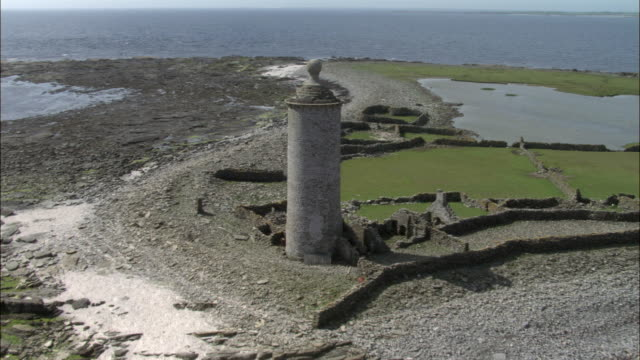Aerial over Old Beacon lighthouse on North Ronaldsay, Orkney, Scotland
