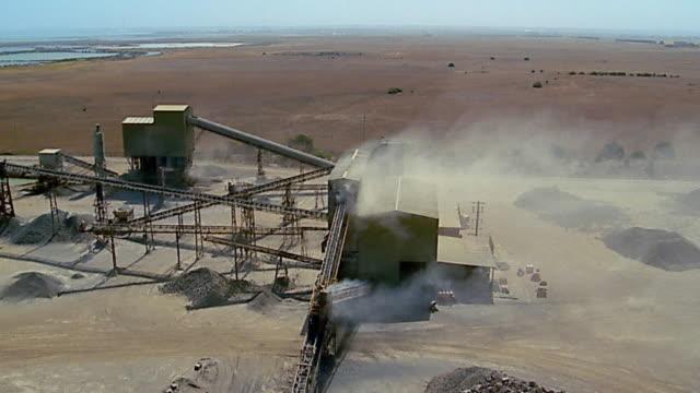 Aerial over quarrying machine / Point Wilson, Australia
