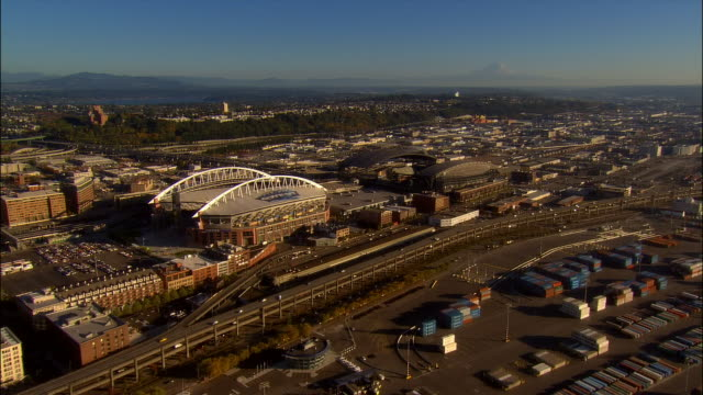 Aerial over Qwest Field and Safeco Field / Seattle, Washington