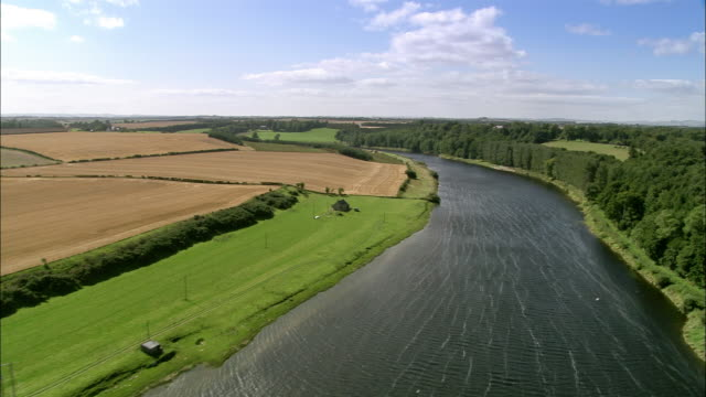 Aerial over River Tweed in Scottish Borders / Scotland