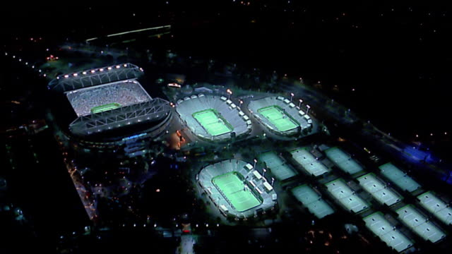 aerial over rod laver stadium / melbourne - tennis stock videos & royalty-free footage