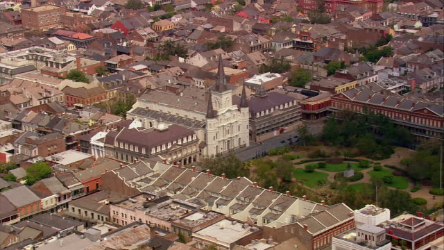 Aerial over Saint Louis Cathedral and Jackson Square in the French Quarter / New Orleans Louisiana