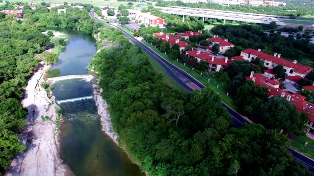 aerial: over san gabriel river at georgetown texas on a nice sunny morning - georgetown texas stock videos & royalty-free footage