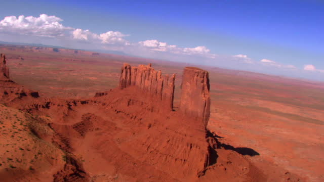 aerial over sandstone buttes in monument valley / kayenta, arizona, usa - mesa stock videos and b-roll footage