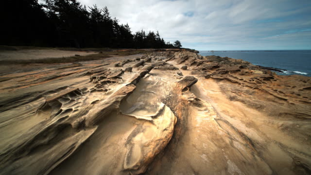 POV aerial over sandstone formations, Shore Acres State Park, Oregon