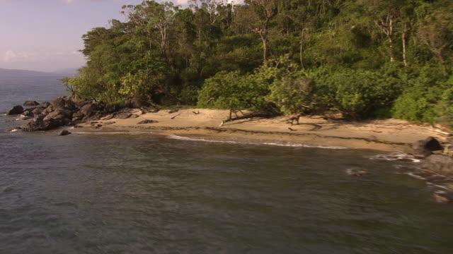 aerial over sea and forested coast, madagascar - costa caratteristica costiera video stock e b–roll