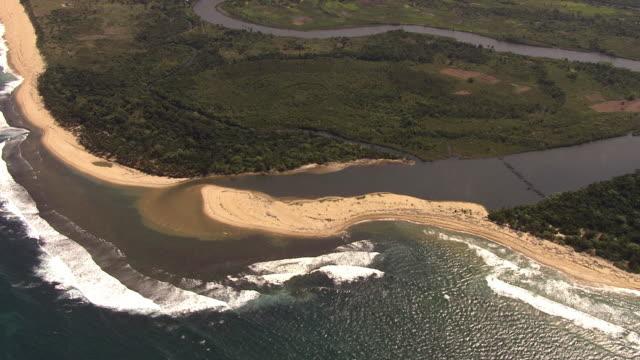 Aerial over sea and river estuary, Madagascar