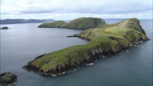 aerial over shiants in outer hebrides, scotland, uk - hebrides stock videos and b-roll footage