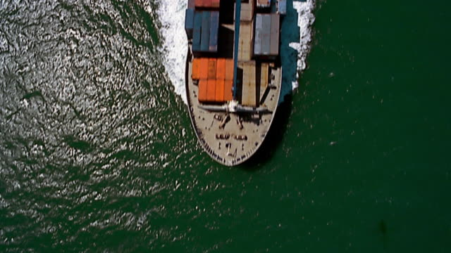 aerial over ship in Port Phillip Bay / Melboure