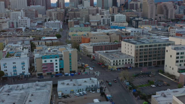 aerial over skid row downtown los angeles street during the covid-19 pandemic - housing difficulties stock videos & royalty-free footage