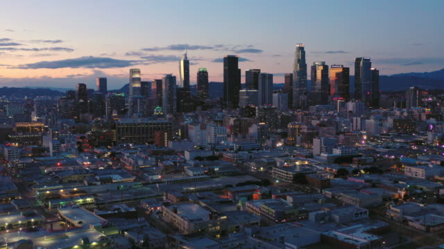 aerial over skid row downtown los angeles street during the covid-19 pandemic - dutcheraerials covid stock videos & royalty-free footage