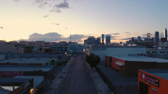 aerial over skid row downtown los angeles street during the covid-19 pandemic - lockdown stock videos & royalty-free footage