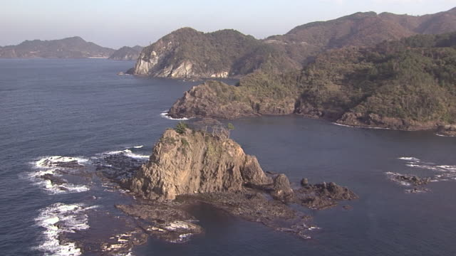 aerial over small rocky island - shimane prefecture stock videos & royalty-free footage