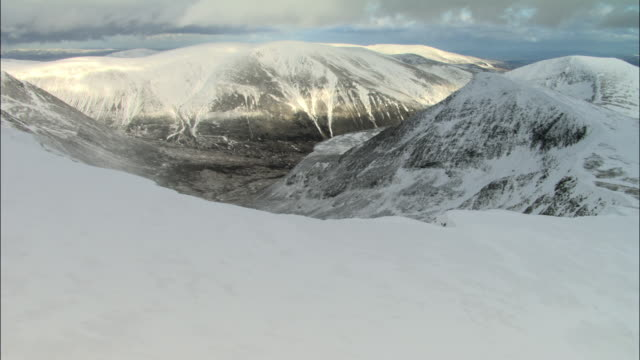 Aerial over snow covered mountains, Cairngorms, Scotland