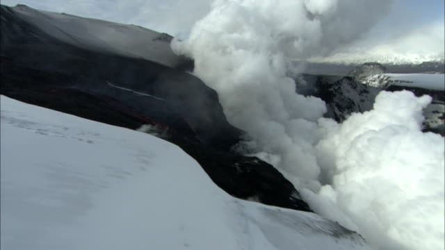 Aerial over snow covered volcano erupting, lava and smoke, Eyjafjallajokull, Iceland, April 2010