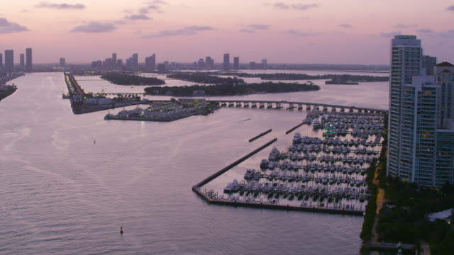 aerial over south pointe beach and government cut, sunset miami fl - jachthafen stock-videos und b-roll-filmmaterial