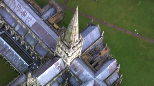 Aerial over spire of Salisbury cathedral, Wiltshire, UK