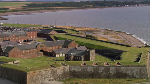 Aerial over the 18th century fortifications and barracks at Fort George / Highland, Scotland