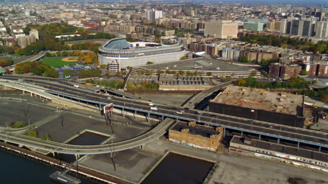 Aerial over the Major Deegan Expressway and Yankee Stadium / Bronx, New York