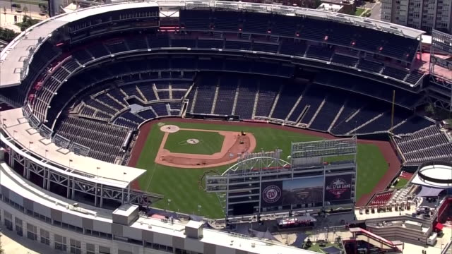 aerial over the nationals baseball park in washington dc - nationals park stock videos & royalty-free footage