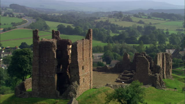 Aerial over the ruins of Brough Castle / Cumbria, England