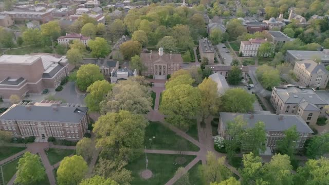 aerial over the university of north carolina in the spring - antenna aerial stock videos & royalty-free footage