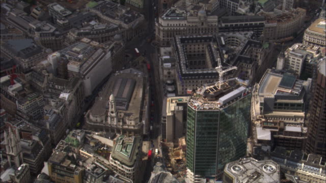 Aerial over Threadneedle Street in City of London, 2007, London, UK