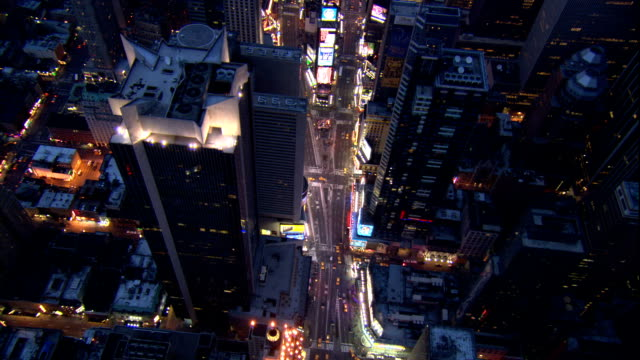 Aerial over Times Square night New York City