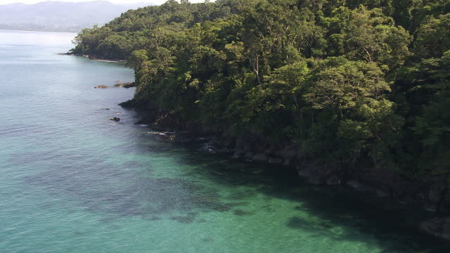 aerial over tropical sea and forested coast, madagascar - küste stock-videos und b-roll-filmmaterial