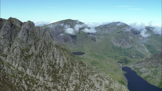 Aerial over Tryfan mountain in Snowdonia, Wales, UK