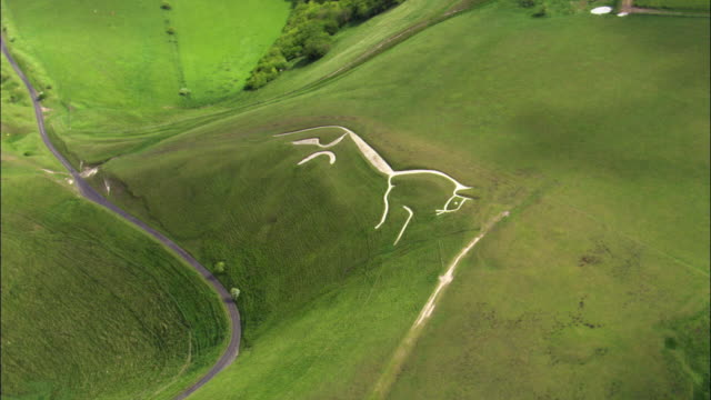 Aerial over Uffington white horse chalk carving, Oxfordshire, UK