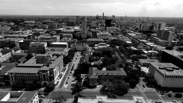 Aerial Over University of Texas Campus UT Clock Tower Austin Texas Skyline black and white