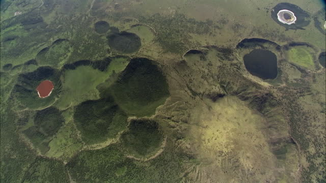 Aerial over volcanic crater lakes, Queen Elizabeth NP, Uganda