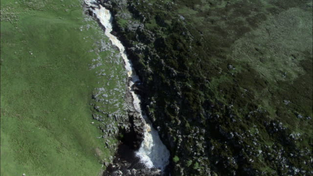 Aerial over waterfall, Yorkshire Dales, UK