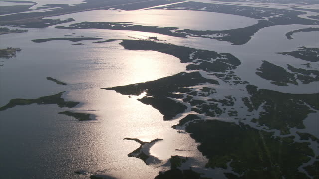 vidéos et rushes de aerial over watery bayou landscape at sunset / pascagoula mississipp - 2005