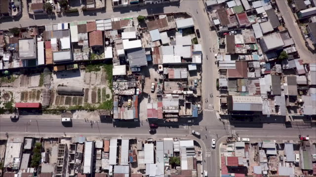 Aerial overhead a township in South Africa