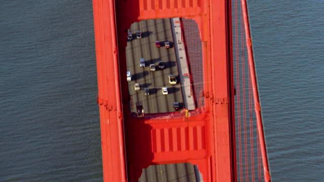 Aerial overhead close up Golden Gate Bridge with traffic / San Francisco, California